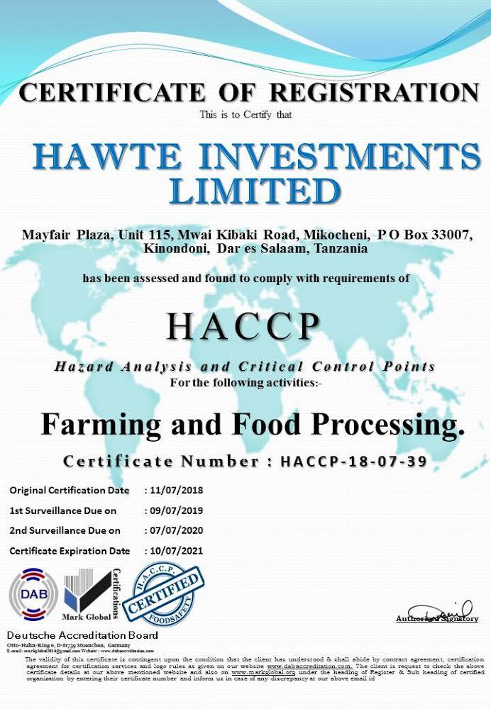Haccp Certification Hawte